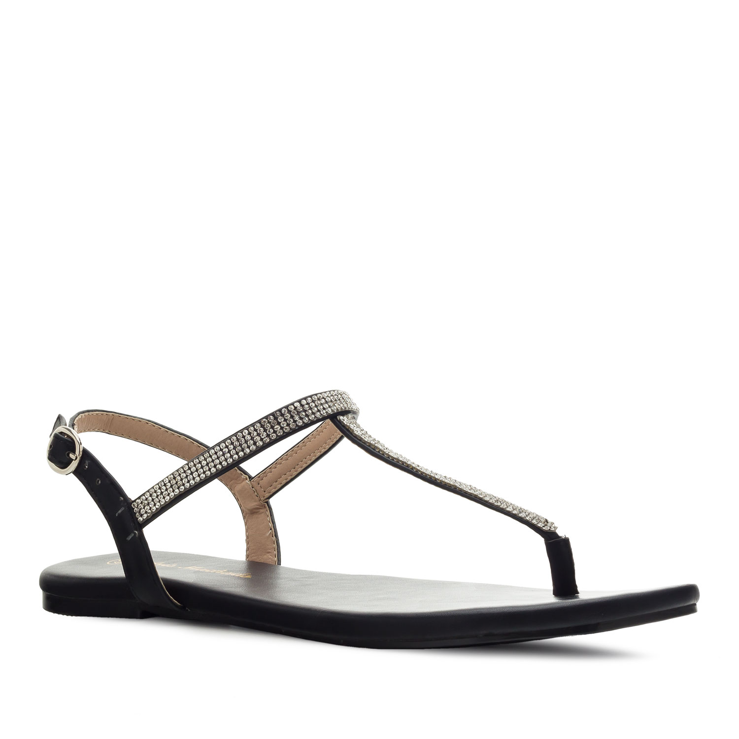 T-Bar Flat Sandals in Black faux Leather with Strass