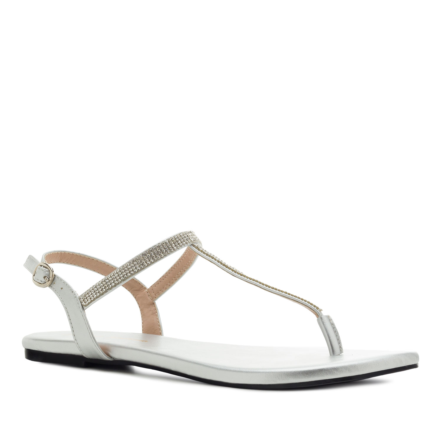 T-Bar Flat Sandals in Silver faux Leather with Strass