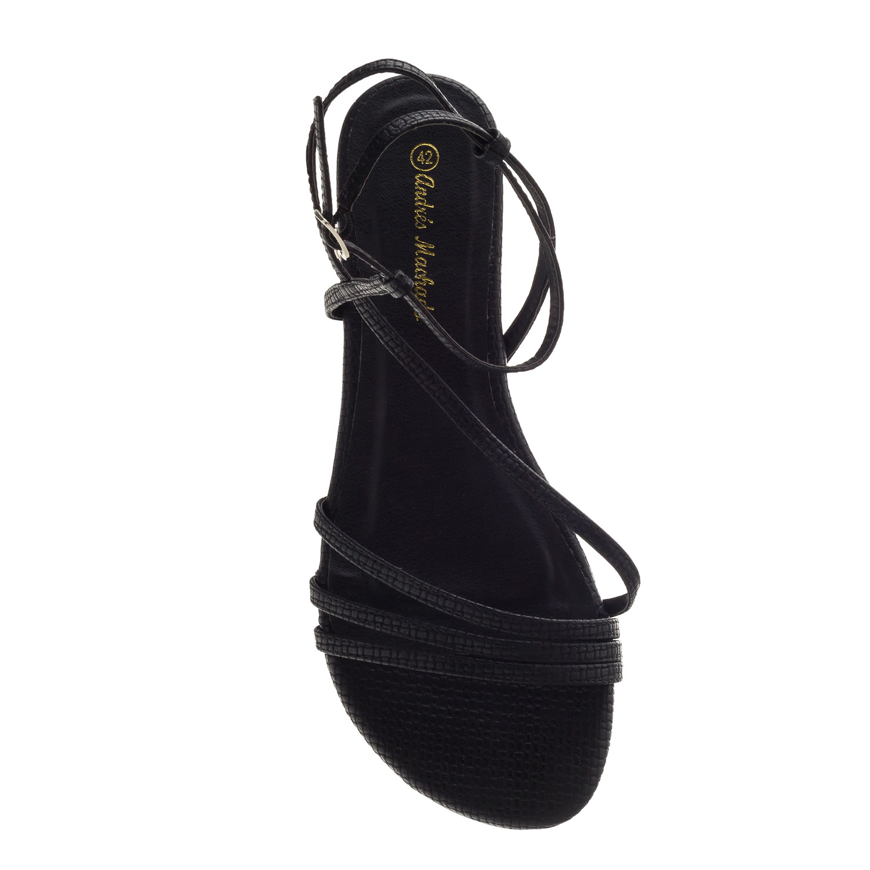 Sandalias Tiras Grabado Negro