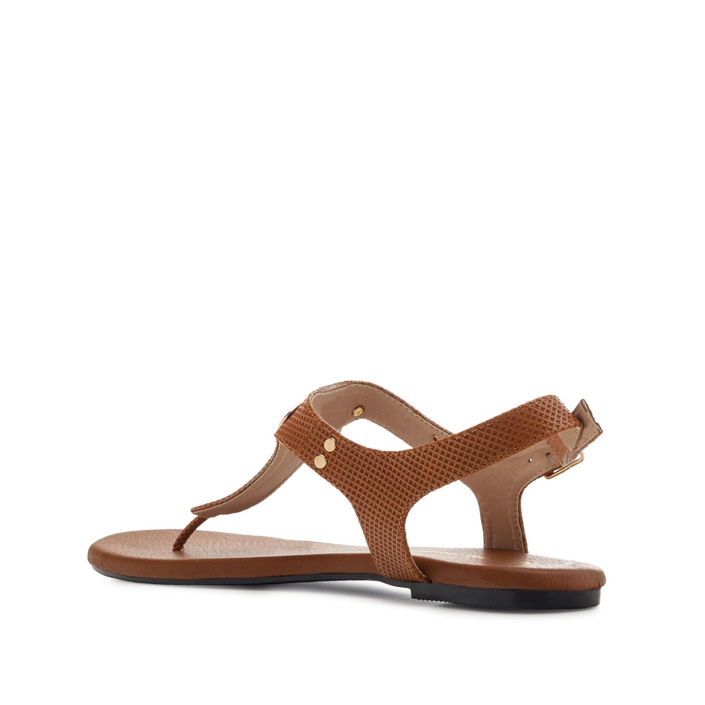 T-bar letní sandály. Hnědé.