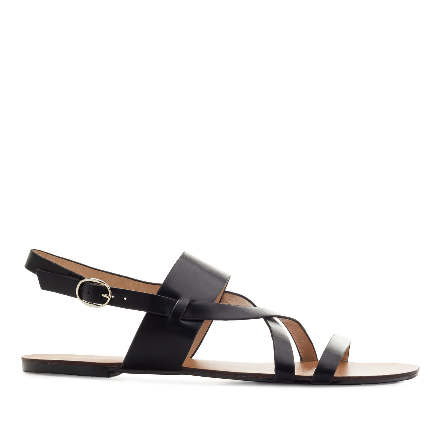 Flat Sandals in Black faux Leather