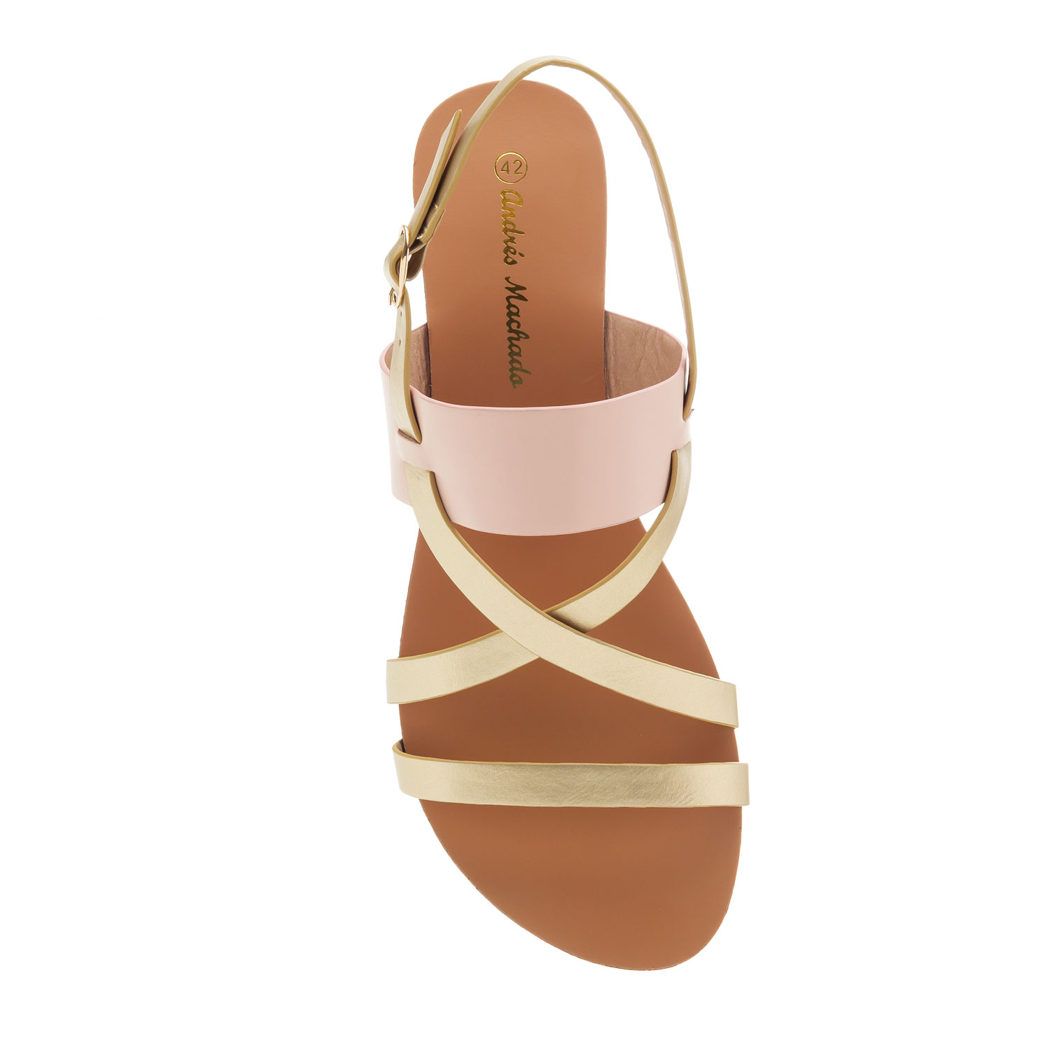 Flat Sandals in Gold & Rose faux Leather