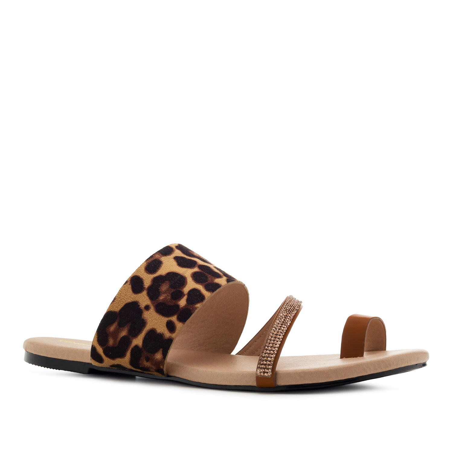 Toe Flat Sandals in Brown Leopard Print