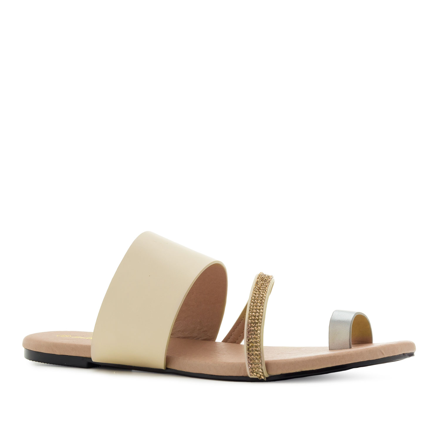 Toe Flat Sandals in Cream faux Leather