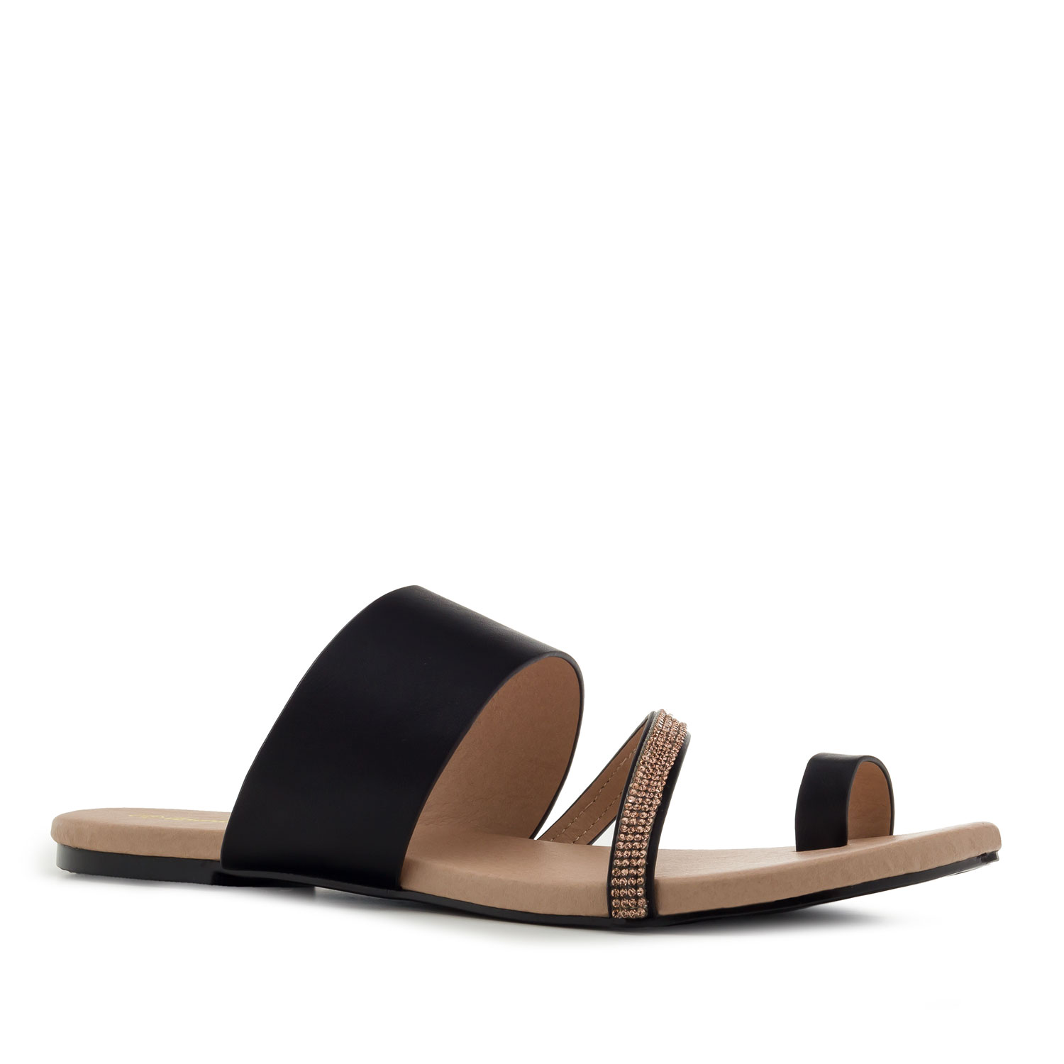 Toe Flat Sandals in Black faux Leather