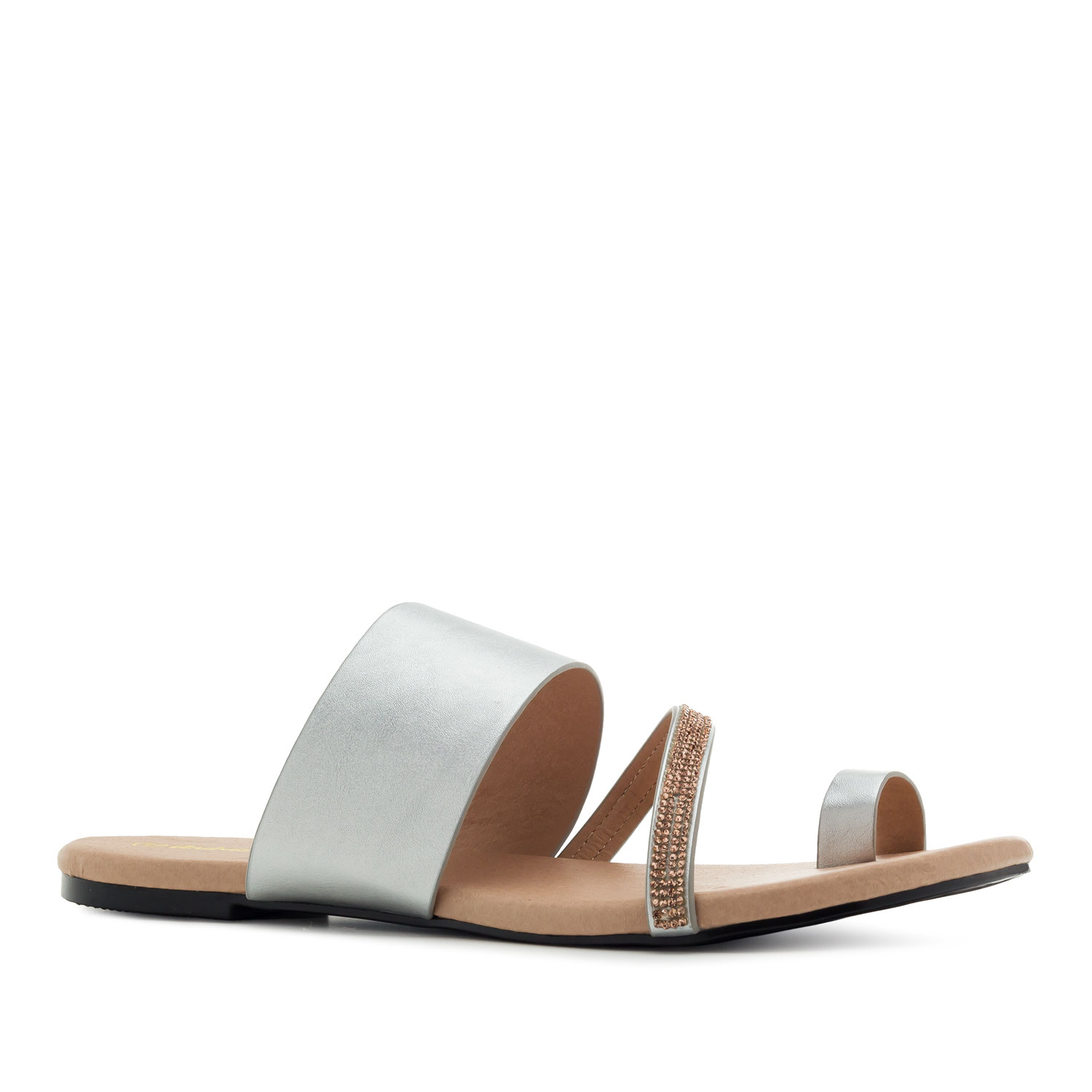 Toe Flat Sandals in Silver faux Leather