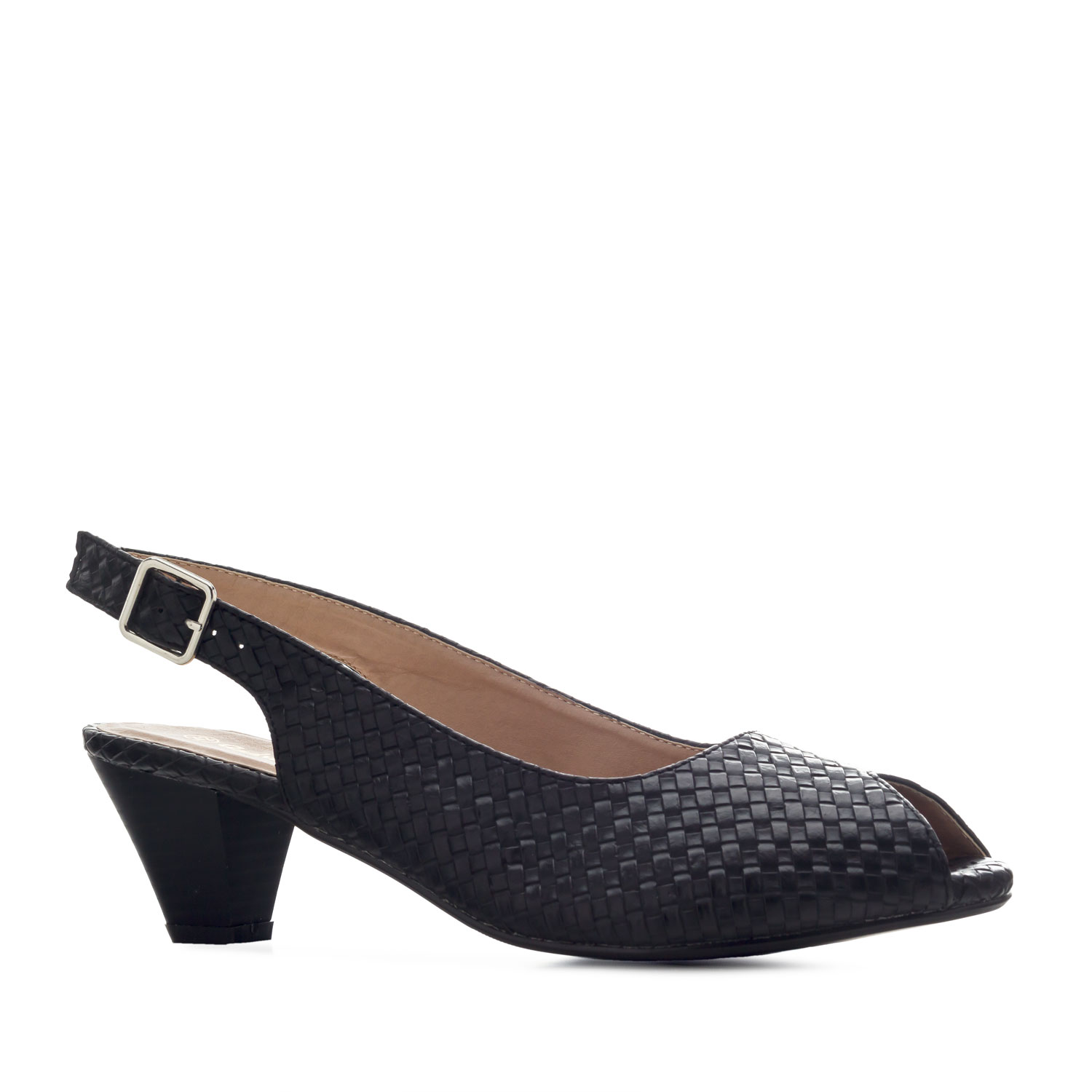 Peep Toe Slingbacks in engraved Black