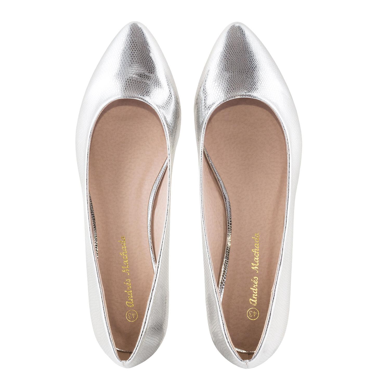 Baletanke sa blagim špicem, srebrne sa šarom