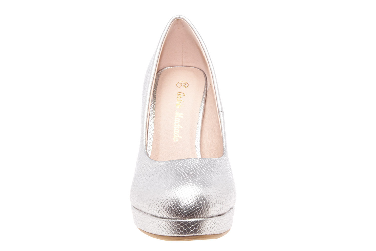 Salones Pumps en Grabado Plata y Tacon Stiletto