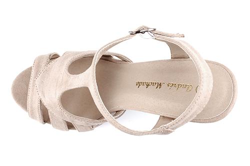 Dvobojne sandale na visoku štiklu od antilopa, bež