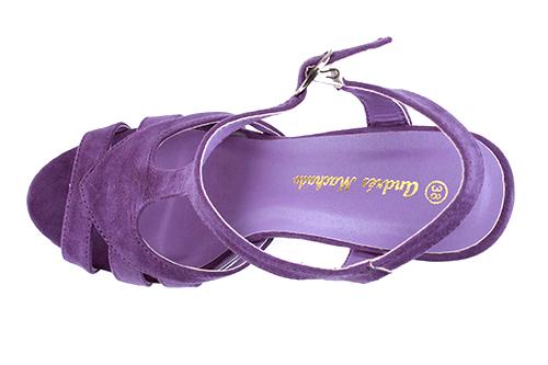 Dvobojne sandale na visoku štiklu od antilopa, ljubičaste