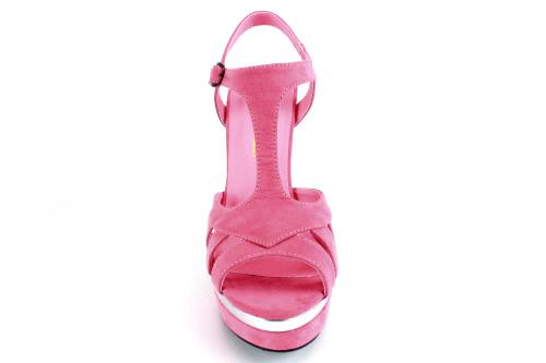 Dvobojne sandale na visoku štiklu od antilopa, roze