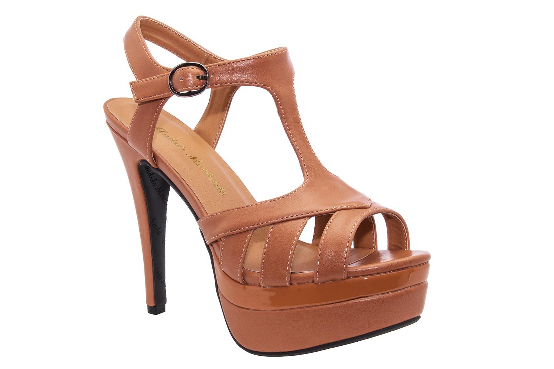 Sandale sa visokom štiklom i platformom, svetlo smeđe