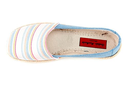 Espardeñas de Lona Jeans con Rayas Multi Azul Claro.