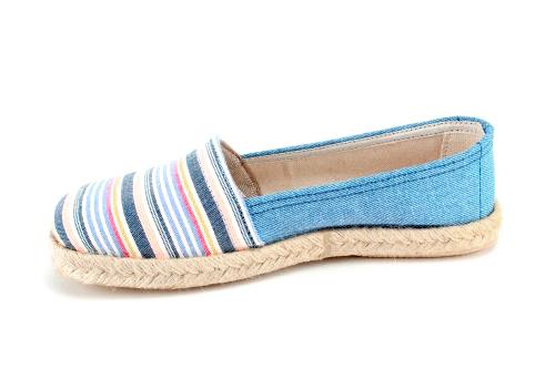 Espardeñas de Lona Jeans con Rayas Multi Azul.