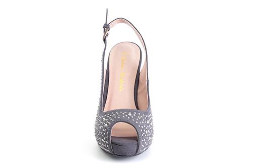 Otvorene cipele na štiklu sa štrasom, sive