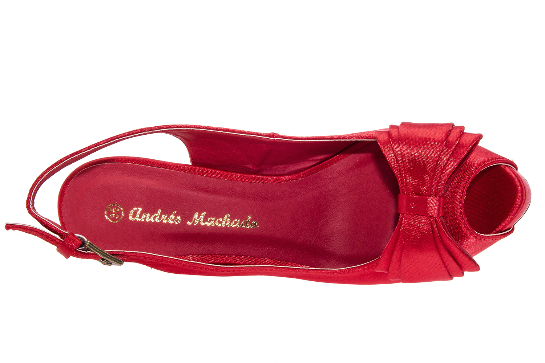 Sandalias Peep-Toes en Raso Rojo