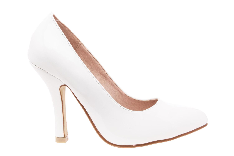 Zapatos Salon en Charol Blanco y punta Fina