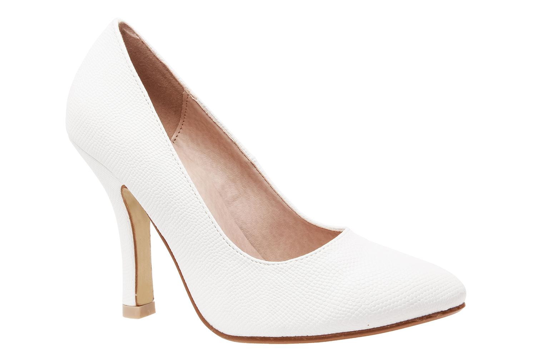 Zapatos Salon en Grabado Blanco y punta Fina