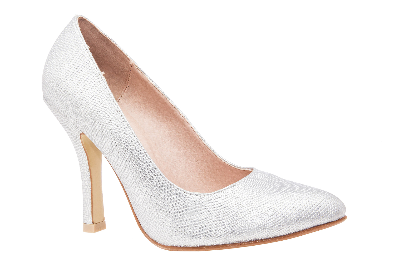 Zapatos Salon en Grabado Plata y punta Fina
