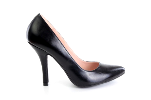 Zapatos Salon en Soft Negro y punta Fina