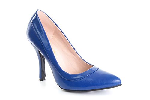 Zapatos Salon combinado Soft Azulon y Charol