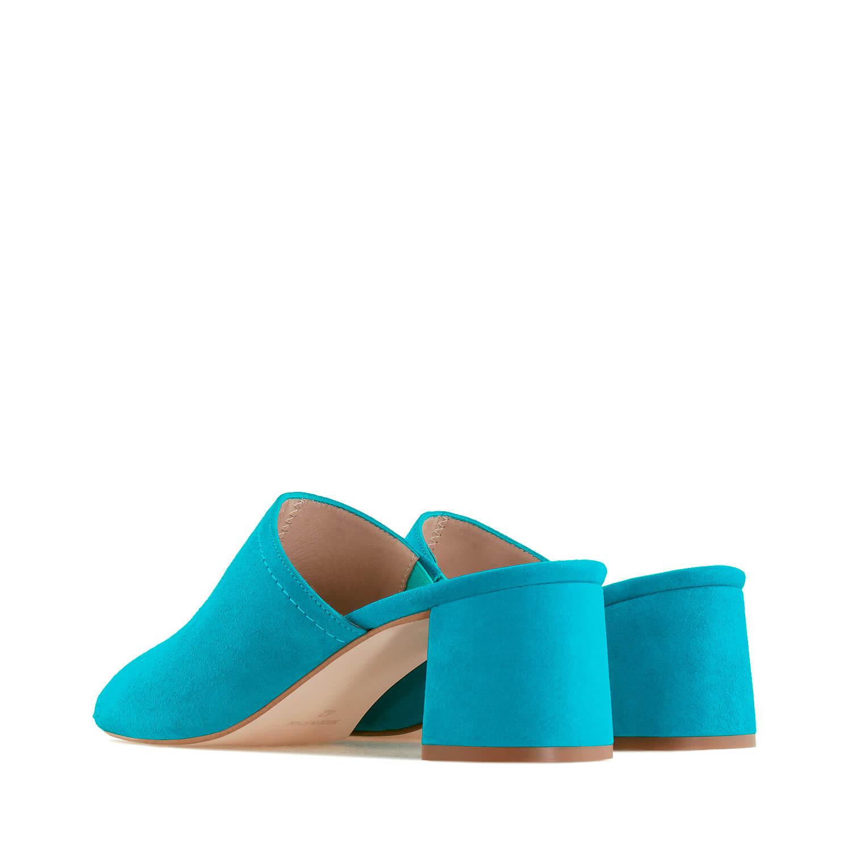 Mule kožne velur papuče, tirkizne