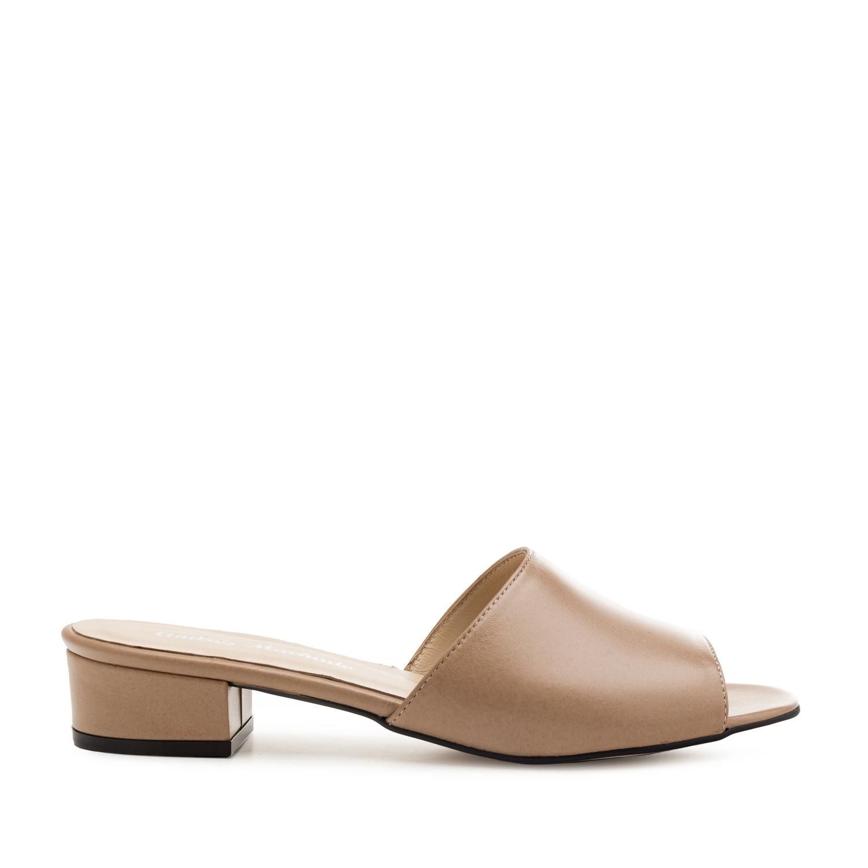 Mule papuče sa niskom štiklom, drap