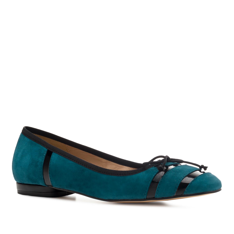 Bailarina en Ante de color Azulón con Lazo