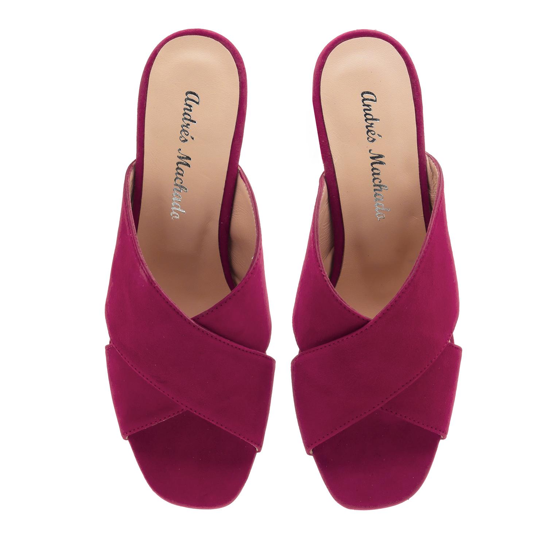 Papuče Mule od prirodne prevrnute kože, pink