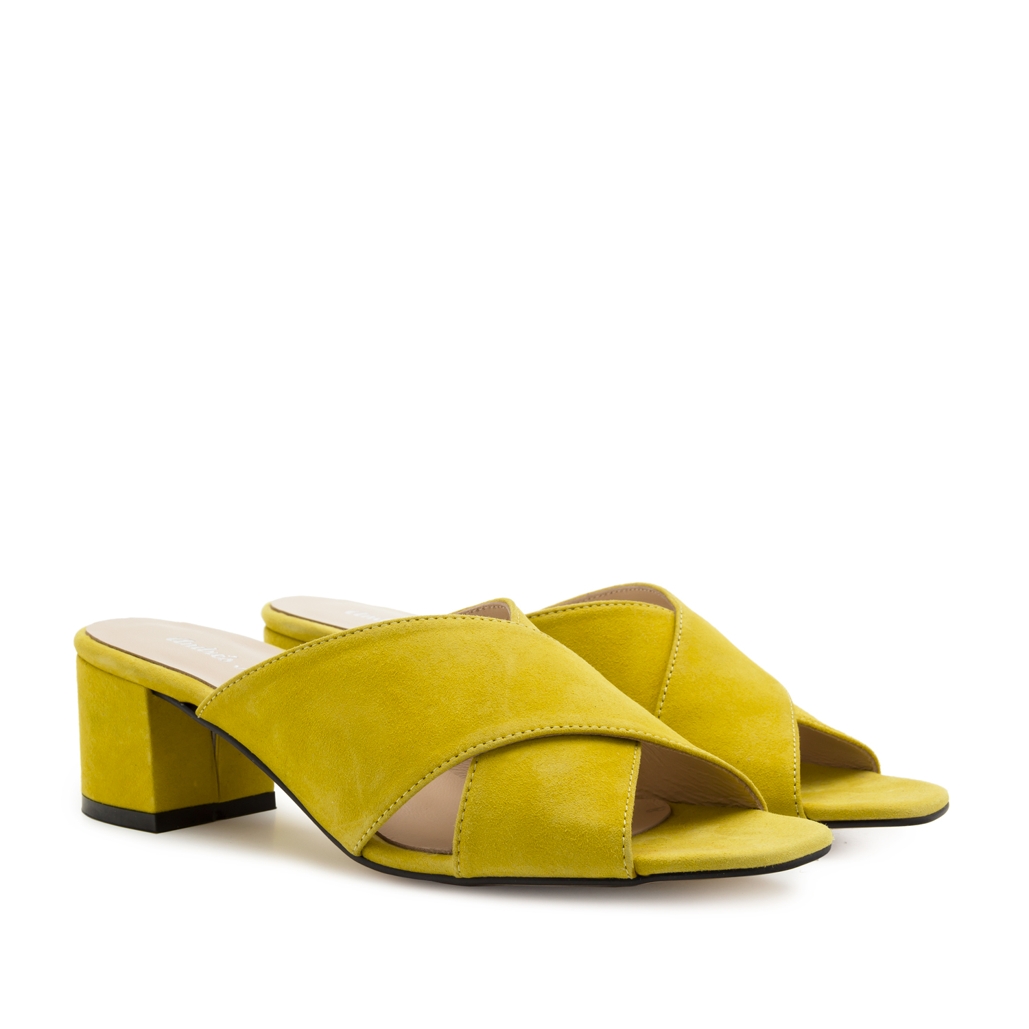 Crossover Mules in Mustard Yellow Suede Leather