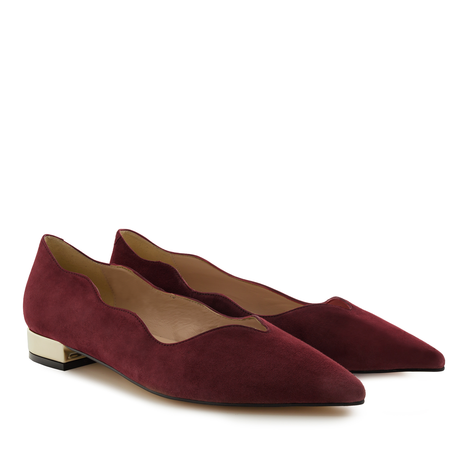 Waved Upper Ballet Flats in Burgundy Nappa Leather