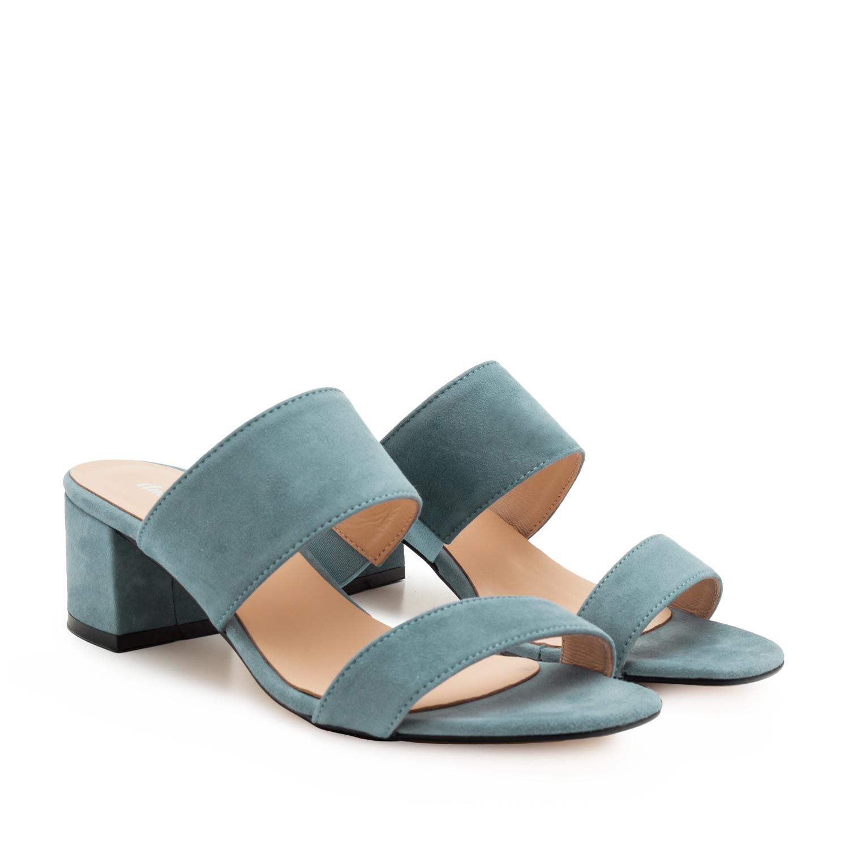 Kožené semišové páskové pantofle. Modré.