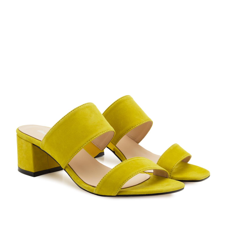 Kožené semišové páskové pantofle. Žlutá citronová.