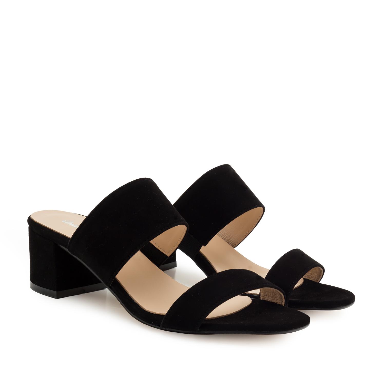 Kožené semišové páskové pantofle. Černé.