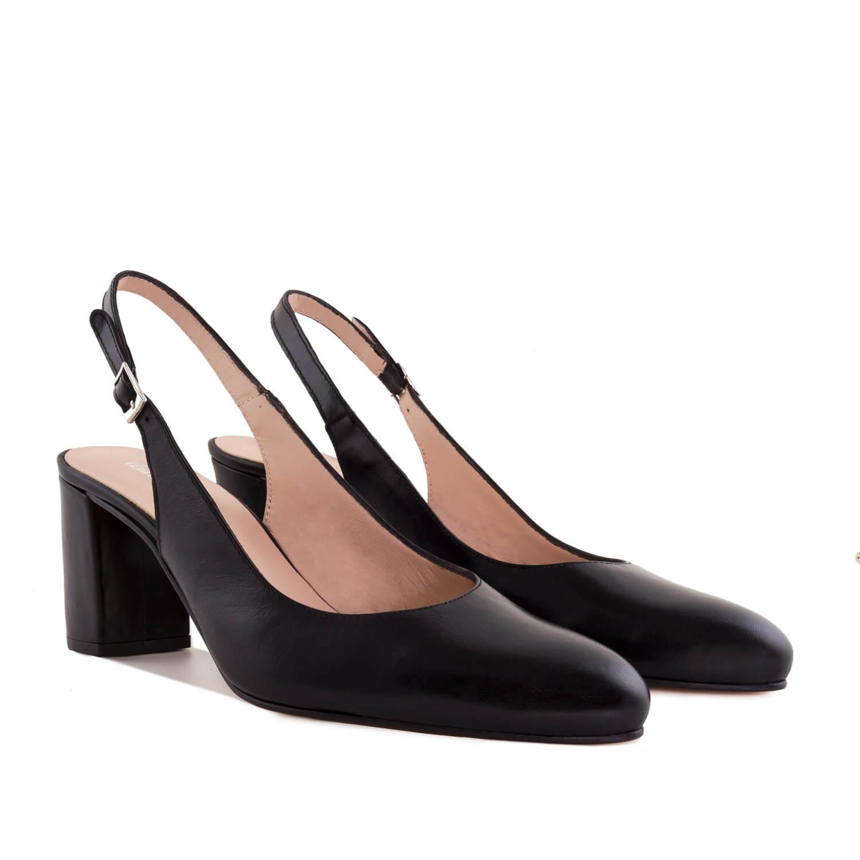 Kožne sandale sa otvorenom petom, crne