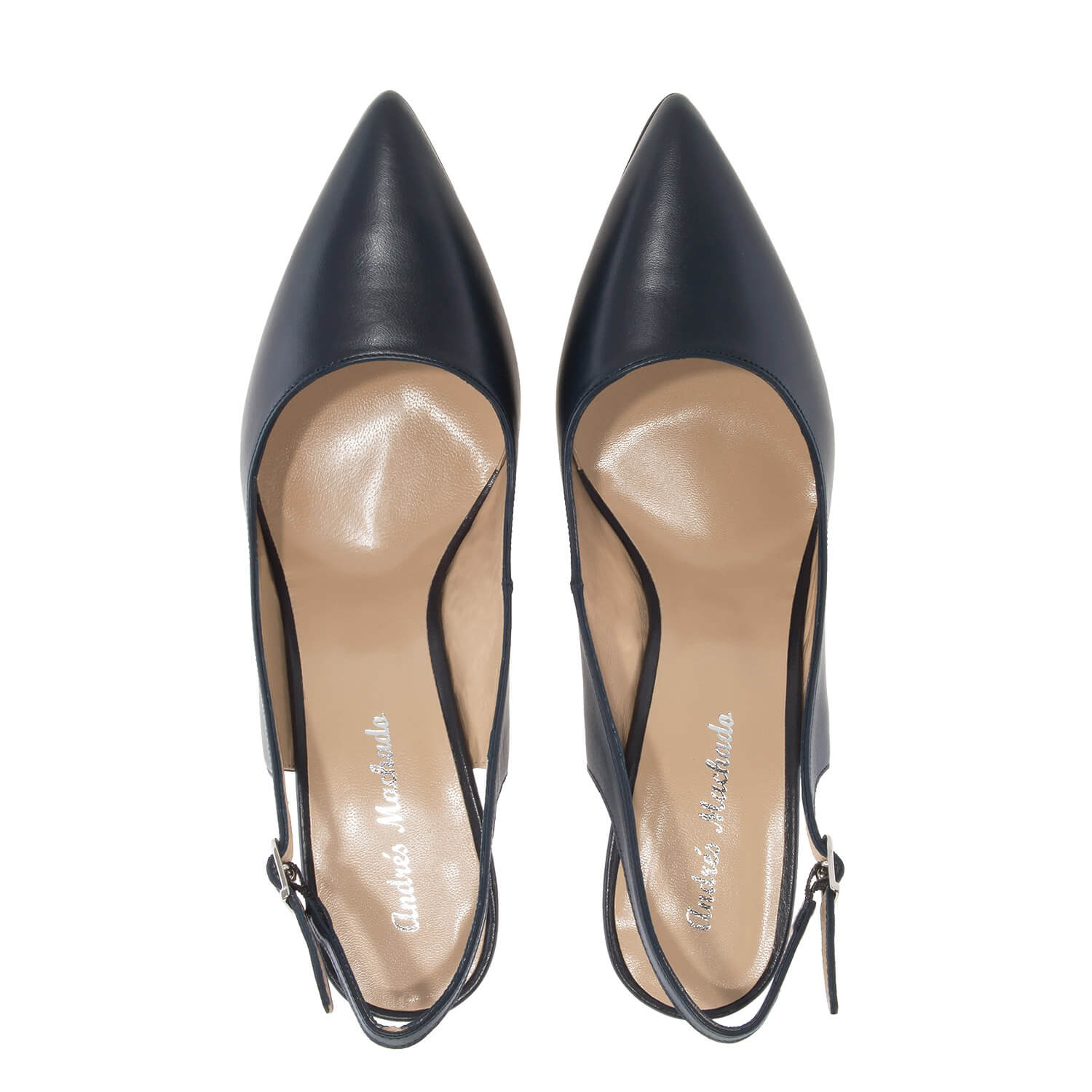 Fine Toe Slingback Shoes in Navy Leather