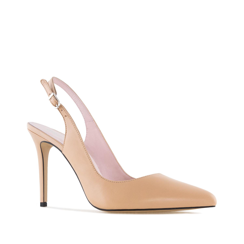 Kožne sandale sa visokom štiklom, bež
