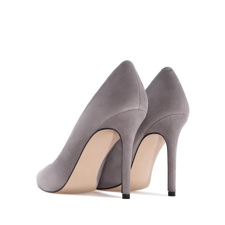Zapato Tacón de Ante Gris