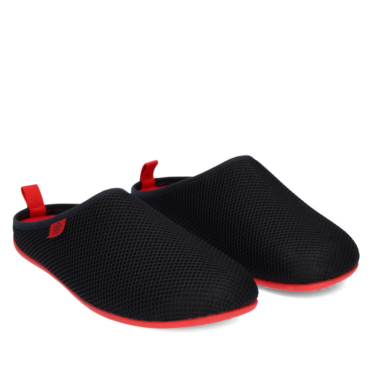 Spring/ Summer Unisex Slippers in Black mesh with Red outsole