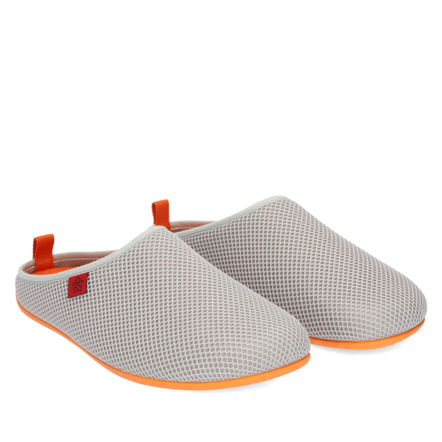 Spring/ Summer Unisex Slippers in Gray mesh with Orange outsole