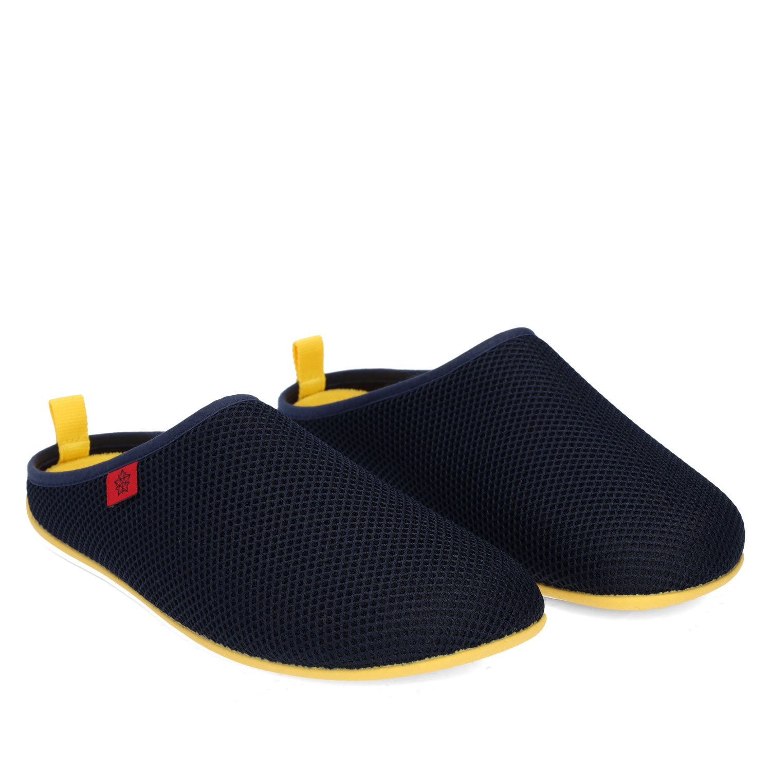 Spring/ Summer Unisex Slippers in Navy mesh with Yellow outsole