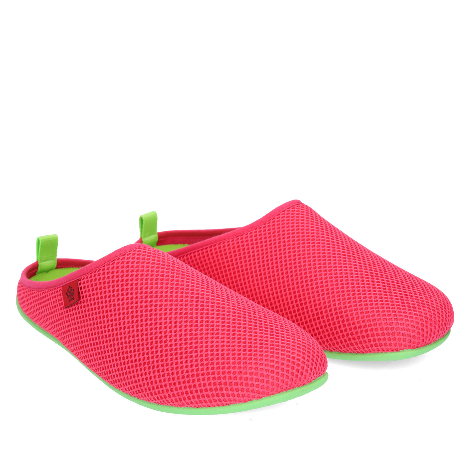 Spring/ Summer Unisex Slippers in Fuchsia mesh with Green outsole