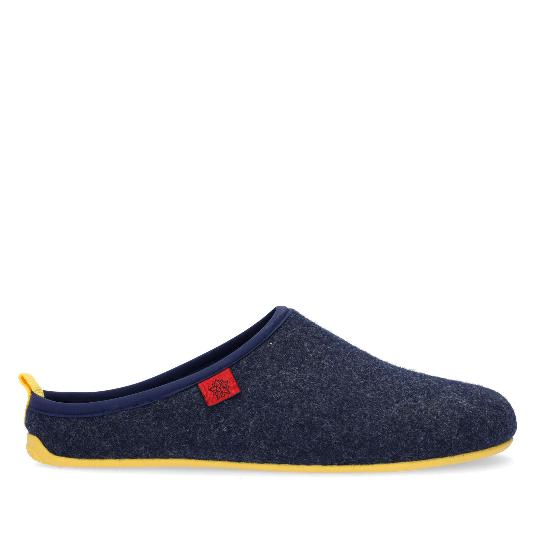 Pantofle Alpino ve stylu dřeváků. Modré, žlutá podrážka.