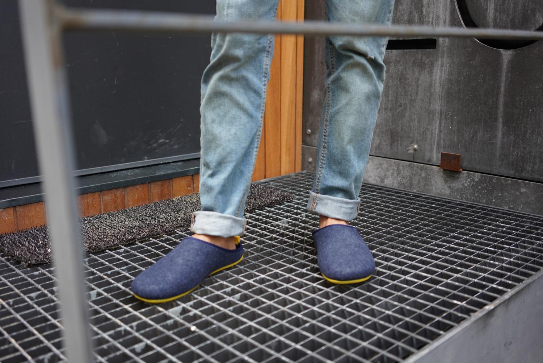 Zapatillas Unisex en Tejido Fieltro Azul Marino