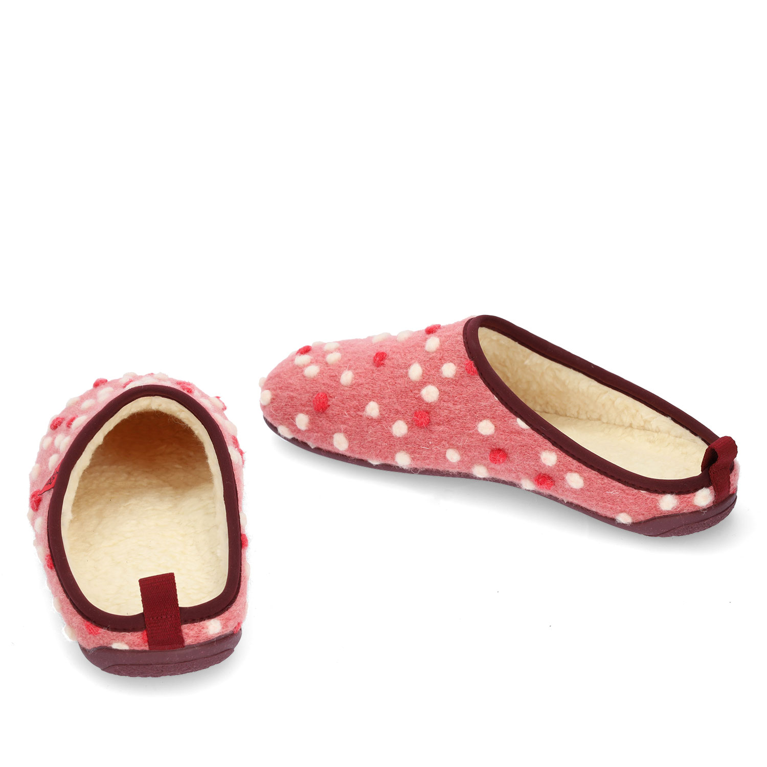 Slippers in Pink Wool with dots