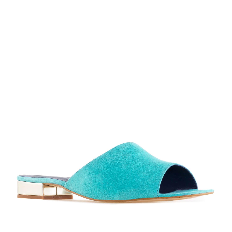 Papuče od velura sa niskom petom, plave