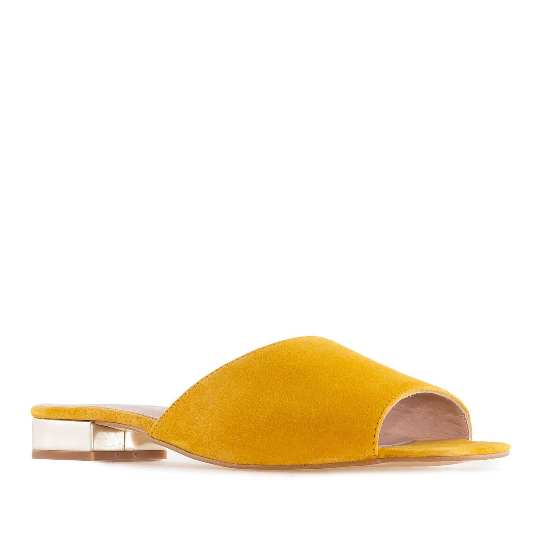 Papuče od velura sa niskom petom, oker