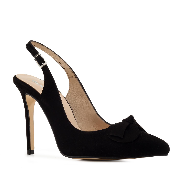 Slingback Stilettos in Black Suede Leather