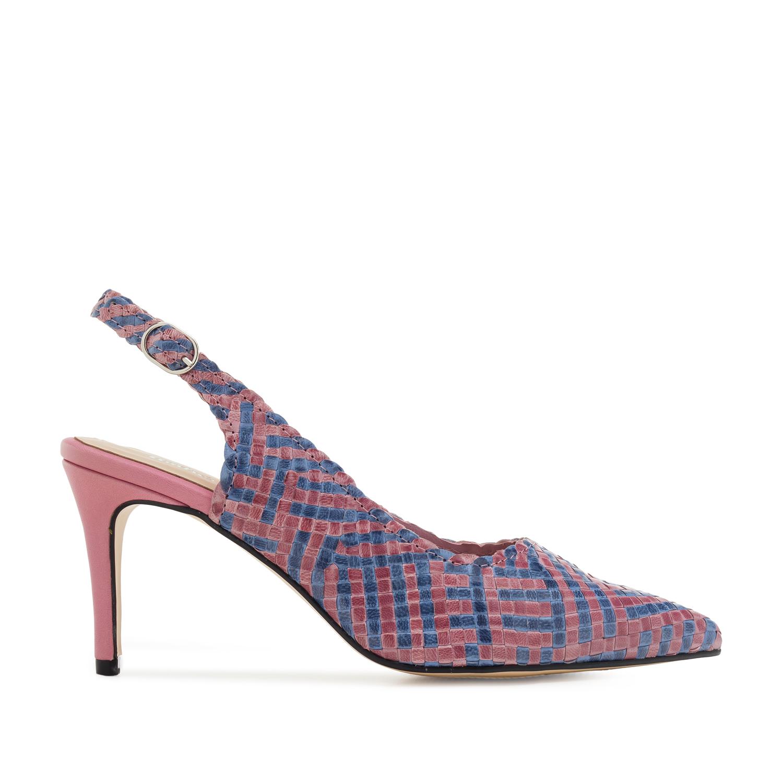 Sandale od pletene prirodne kože, plavo-roze